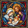 "Tiffany Holy Family Nativity Scene Stain Glass Art Hanging, 7"" x 7"""