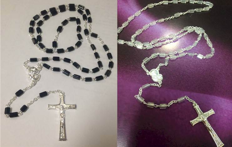 Glass Rosary with Oblong Bead Black Glass Rosary Oblong Bead  851 Nero Ft.4 Ox-516+Ast