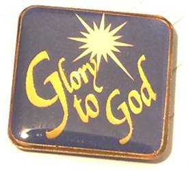 Glory to God Calligraphy Lapel Pin