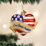 "3"" hand blown glass ornament ""God Bless America"" in Heart"