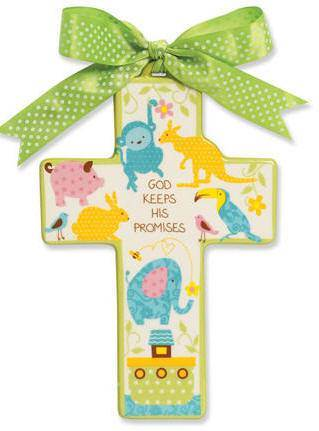 God Keeps His Promises Wall Cross new baby, new baby gift, baptism, baptism gift, christening, christening gift, shower gift, wall cross, noahs ark wall cross, baby wall cross, baby cross