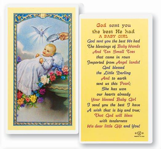 God Sent You The Best He Had A Baby Girl Laminated Prayer Card