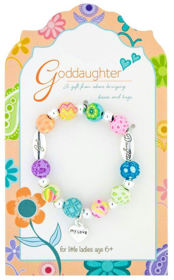 Goddaughter Colorful Beaded Love Bracelet, Carded kids bracelet, faith bracelet, faith bracelet, sacramental gift, bracelet, goddaughter bracelet, girl gift, 203-018