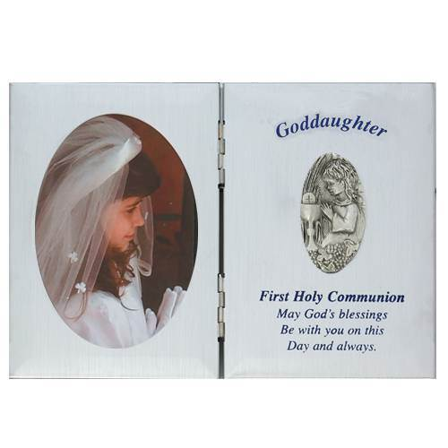 Silver Goddaughter First Communion Frame first communion frame, brass frame, first communion gift, holy eucharist gift, picture frame, goddaughter gift, girl gift