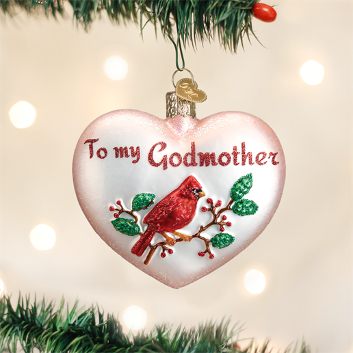 Godmother Heart Glass Ornament