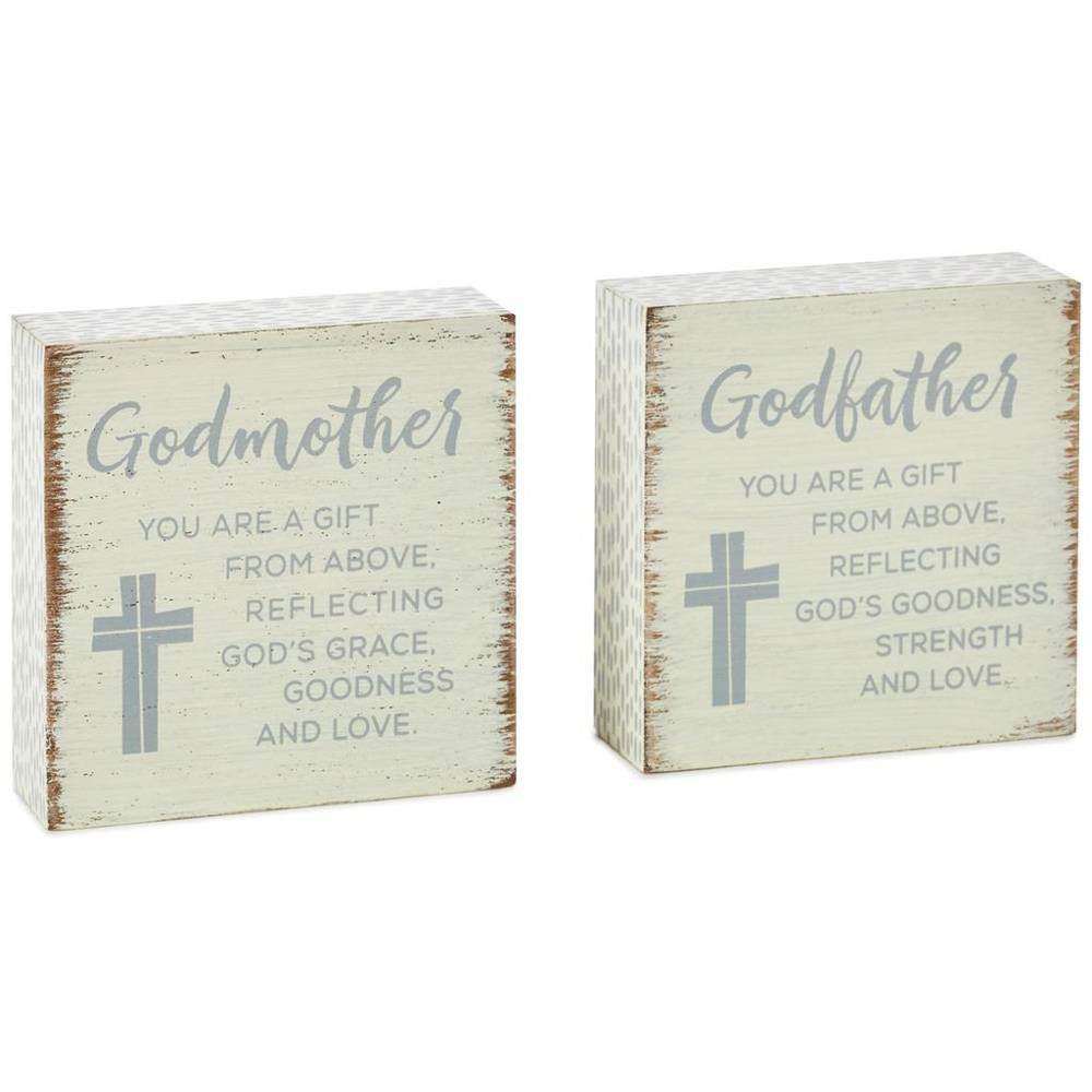 Godparents Wood Signs, Set of 2