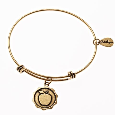Gold Bangle with Apple Charm