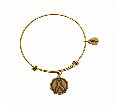 Gold Bangle with Awareness Ribbon Charm