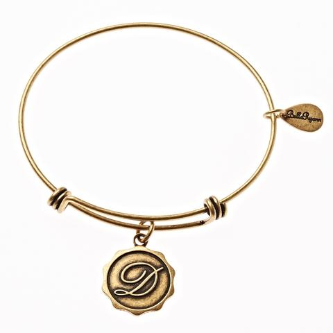 Gold Bangle with Letter  D Charm