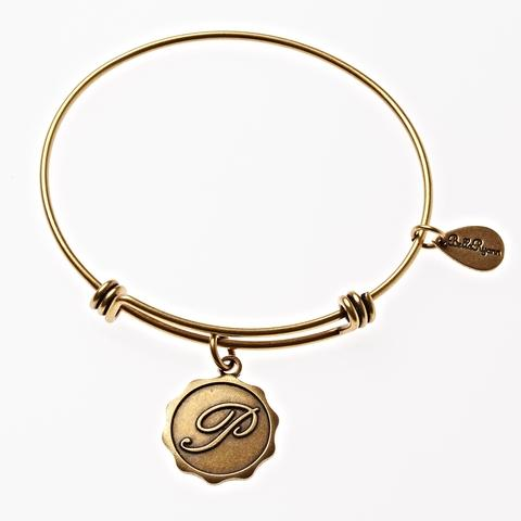 Gold Bangle with Letter P  Charm