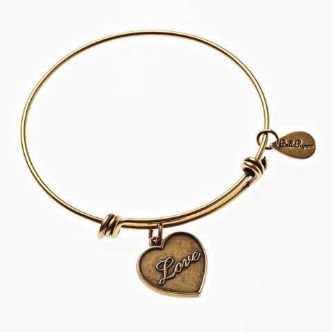Gold Bangle with Love Charm