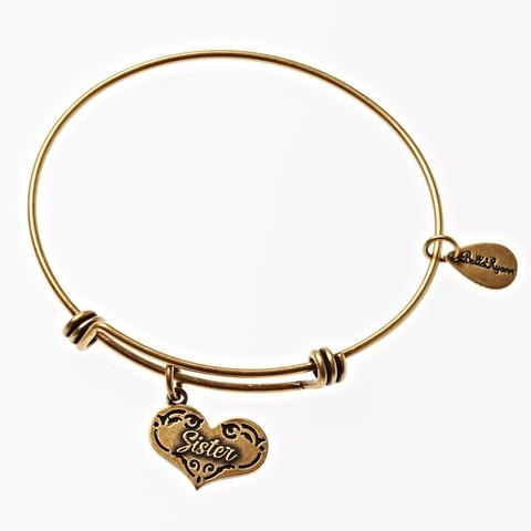 Gold Bangle with Sister Charm