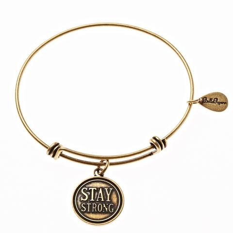 Gold Bangle with Stay Strong Charm
