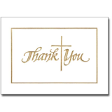 Gold Cross Thank You Notes with Envelopes, 12/pkg