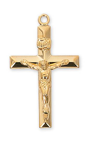 "Gold Crucifix gold crucifix, gold necklace, crucifix necklace, sacramental gift, 24"" chain, 36036"