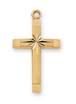 "Gold Engraved Cross On 18"" Chain"
