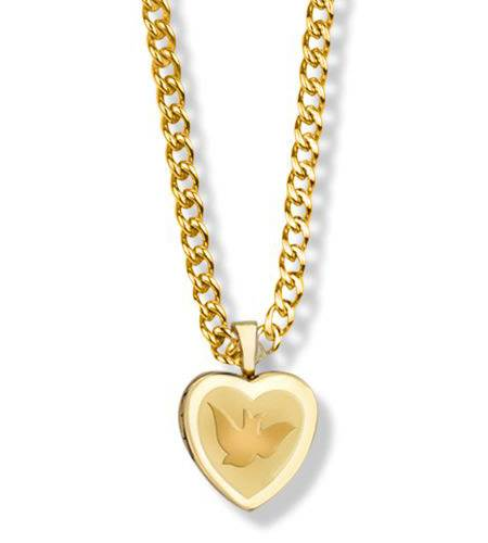 Gold Filled Heart Locket with Dove