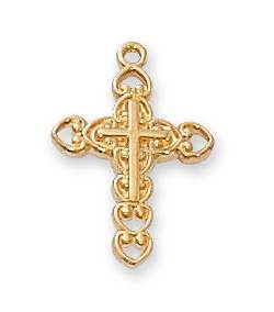 "Gold Ornate Cross On 16"" Chain"
