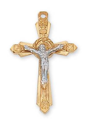 "Gold Over Sterling Silver Crucifix on 18"" Chain"
