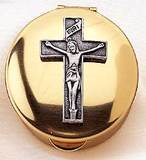 Gold Pyx with Pewter Crucifix, Small