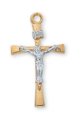 Gold/Sterling Silver Two-Tone Crucifix
