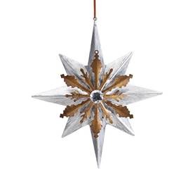 Gold and Silver Tin Star Ornament