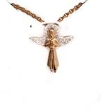 Gold over Sterling Angel with Zirconia Wings on 18in Chain