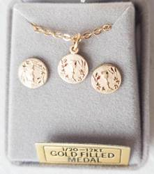 Gold over Sterling First Communion Necklace and Earring Gift Set