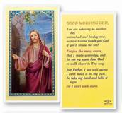 Good Morning God  Clear, laminated Italian holy card