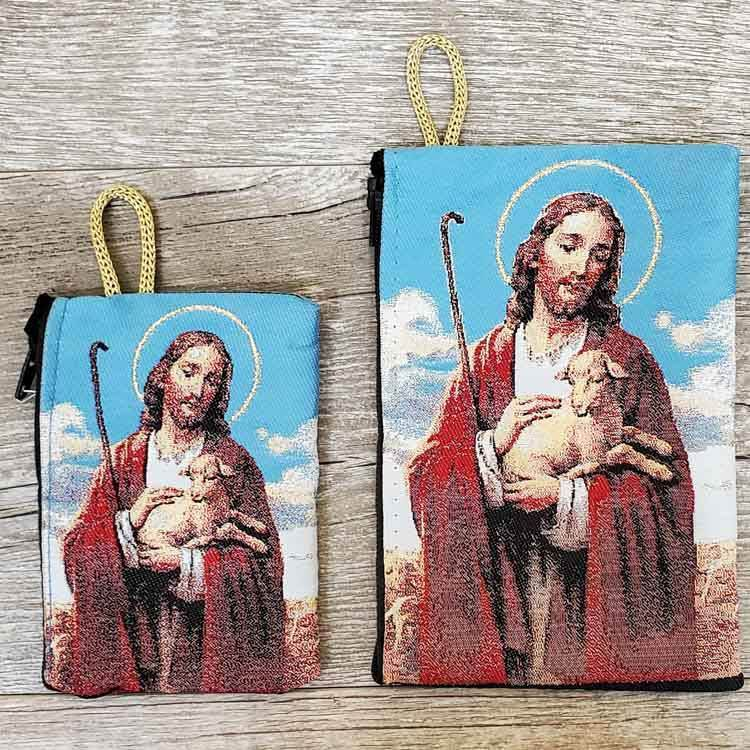 Good Shepherd Woven Rosary Pouch from Turkey