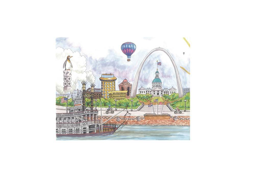 Goodnight St. Louis Arch/Riverfront Note Cards