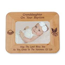 Granddaughter Baptism Laser Engraved Maple Wood Photo Frame