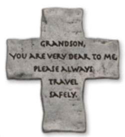 "Grandson Cross Visor Clip ""Grandson, you are very dear to me, please always travel safely. "" Fine pewter auto visor clip"