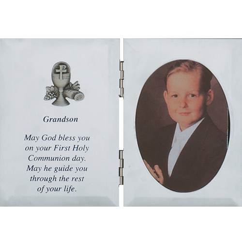 Silver Grandson First Communion Frame first communion frame, brass frame, first communion gift, holy eucharist gift, picture frame, grandson gift, boy gift