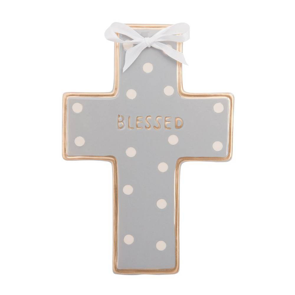 Gray Dot Ceramic Wall Cross