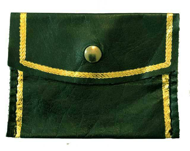 Green Leather Snap Rosary Case from Italy