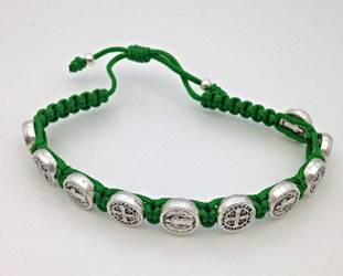 Green/Silver St. Benedict Blessing Bracelet with Story Card