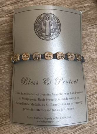 Grey and Silver St. Benedict Blessing Bracelet with Story Card