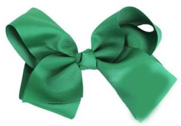 "Grosgrain 6"" Green Hair Bow"