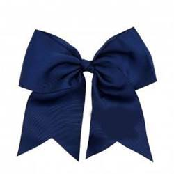 "Grosgrain 6"" Navy Hair Bow with Tails"