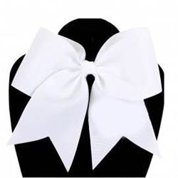 "Grosgrain 6"" White Hair Bow with Tails"