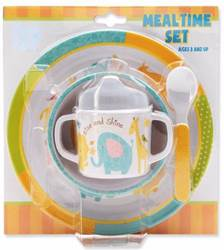 Noahs Ark Mealtime 4pc Plate Set baby Plate, Bowl, Spoon, Sippy Cup; Melamine, baby gift, infant feeding set