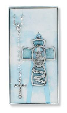 "Guardian Angel Crib Medal and Rosary Set, Blue ""Angel of God Protect this Child"""