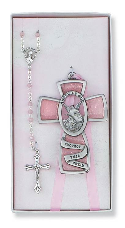 "Guardian Angel Crib Medal and Rosary Set, Pink ""Angel of God Protect this Child"""