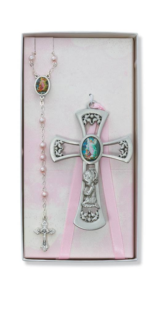 Guardian Angel Crib Medal and Rosary Set, Pink