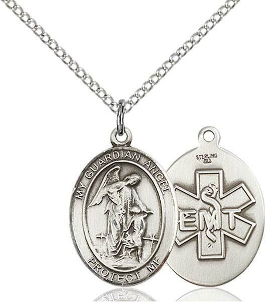 Guardian Angel and EMT Necklace Sterling Silver