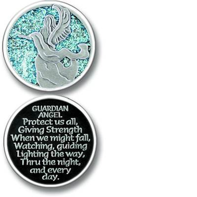 Guardian Angel Enamel Pocket Coin