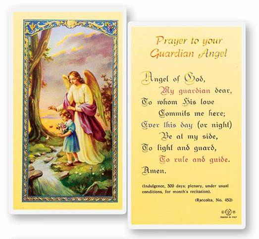 Guardian Angel Laminated Prayer Card