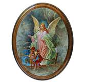 Guardian Angel Wooden 4X5 Oval Plaque Gift Boxed