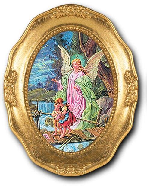 Guardian Angel Small Oval Framed Picture
